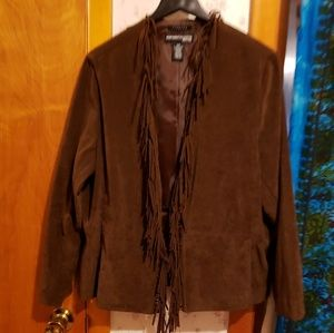 Saddle Brown Faux Suede Fringed Jacket / Blazer